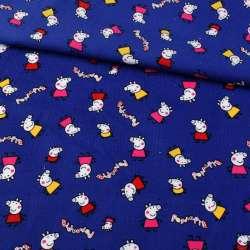 Мікровельвет синій, свинка Пеппа, ш.110