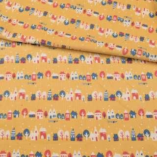 Мікровельвет жовтий, різнокольорові будиночки, дерева, ш.108