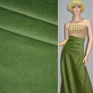 М/вельвет зеленый стрейч, однотонный, ш.150