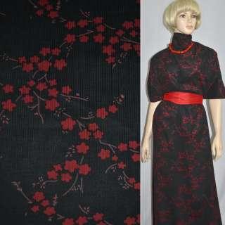 Микровельвет черный с красными цветами, ш.110