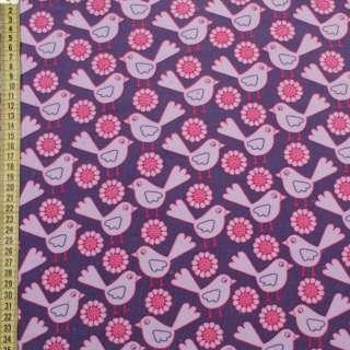 Мікровельвет фіолетовий в рожево-бузкові пташки, квіти, ш.145