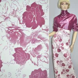 Вельвет стрейч белый с розовыми розами, ш.140