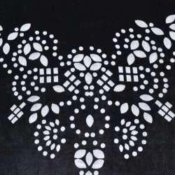 бархат на шифоне черный с цветами по центру ш.110