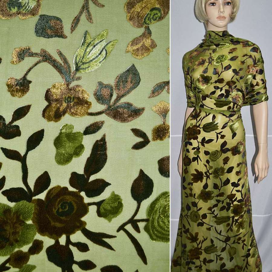 бархат на шифоне зеленый в коричневые цветы ш.110