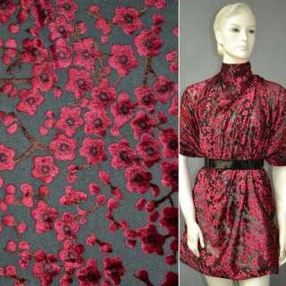 Бархат на шифоне чёрный в красн.цветы ш.110
