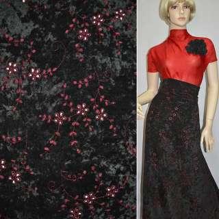 Мікровелюр стрейч чорний з бордовим вишивкою, ш.150