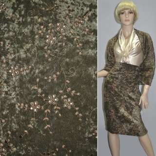 Микровелюр стрейч болотный с коричневой вышивкой, ш.150