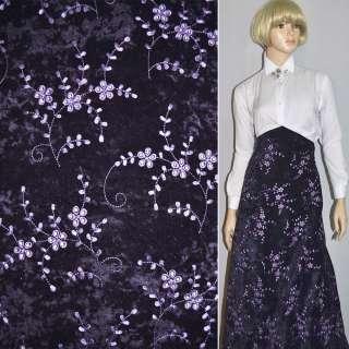 Микровелюр стрейч фиолетовый темный с сиреневой вышивкой, ш.150