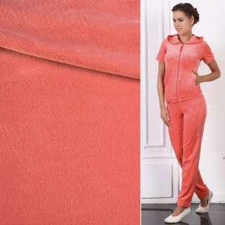 Велюр стрейч спорт персиково-рожевий ш.170