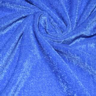 Стрейч велюр темно голубой ш.150