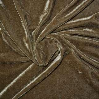 Стрейч велюр светло коричневый ш.165