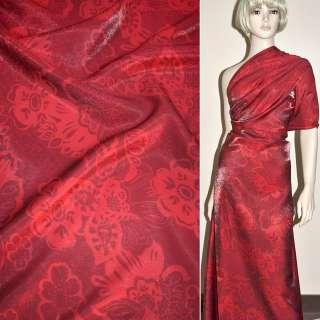 Віскоза костюмна з органзой червона в квіти, ш.150