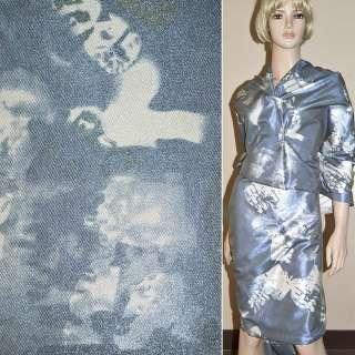 Віскоза костюмна з органзой синьо-сіра, ш.150