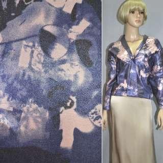 Віскоза костюмна з органзой рожево-блакитна, ш.150