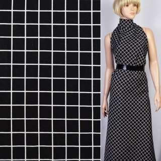 Репс вискозный черный в белые квадраты (2см) ш.150