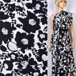 Репс вискозный белый в черные цветы ш.147