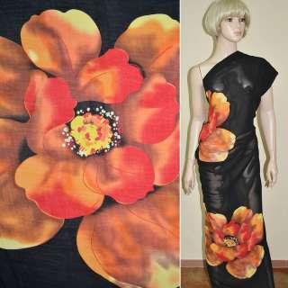 Вискоза черная в оранжевые цветы ш.140