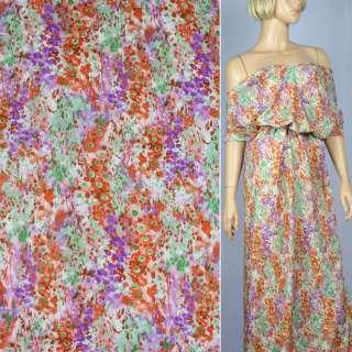 Вискоза молочная в оранжево-фиолетово-лаймовые цветы ш.140