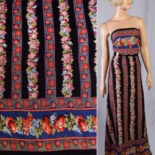 Віскоза чорна з синьо-червоні квіти-купон ш.143