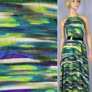 Віскоза зелено-бежево-фіолетовий принт ш.143