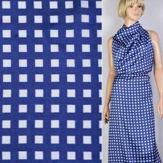 Віскоза атласна саржева синя в білі квадрати 1см ш.147