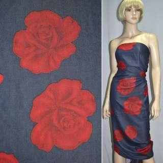 вискоза  синяя  в  красн.  розах