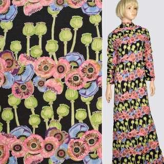 Ткань костюмная стрейч черная в розовые маки, зеленые бутоны, ш.150