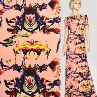 Ткань костюмная стрейч коралловая в желто-фиолетовую абстракцию, ш.150