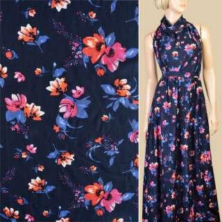 Віскоза синя темна в рожево-помаранчеві квіти, сині листя, ш.140