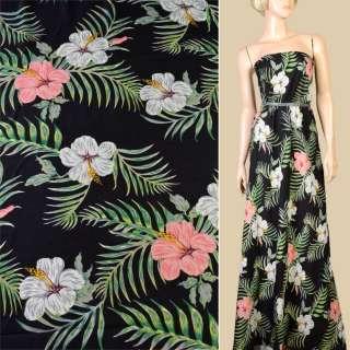 Віскоза чорна, великі білі, рожеві квіти, зелене листя, ш.145