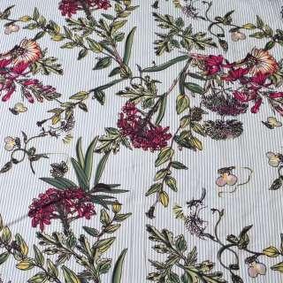 Вискоза белая в серую полоску, бордовые цветы, ш.140