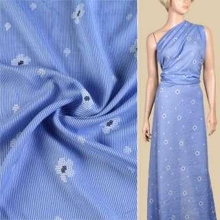 Вискоза голубая в белую полоску, принт вышивка крестиком, ш.145