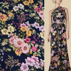 Віскоза синя в рожеві, жовті квіти, ш.140