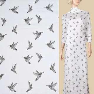 Вискоза белая, черные колибри, ш.135