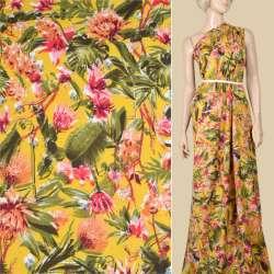 Віскоза жовта, рожеві, помаранчеві квіти, зелене листя, ш.145