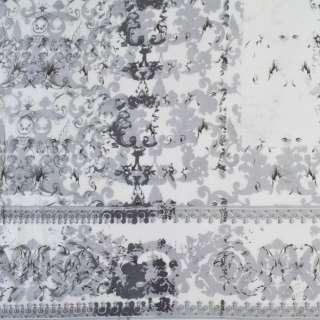 Вискоза белая в серые завитки (купон), ш.140