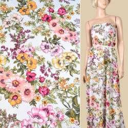 Віскоза біла, рожеві, жовті квіти, ш.145