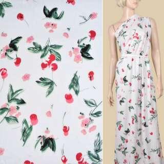 Вискоза белая, красные вишни, розовые цветы, ш.130