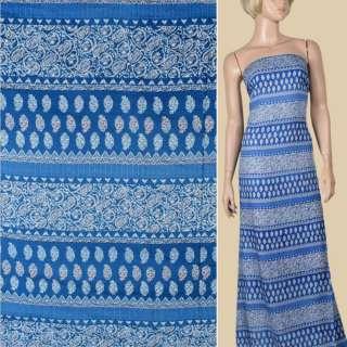 Віскоза синя, білий орнамент (2сорт), ш.140