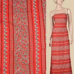 Віскоза червона, білий орнамент (2сорт), ш.140