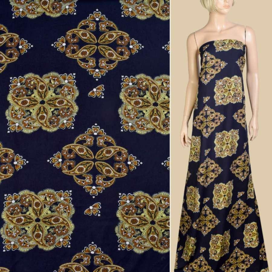 Віскоза синя темна, коричневий орнамент, ш.145