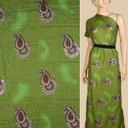 Віскоза зелена, біло-коричневі огірки, срібні блискітки, ш.140