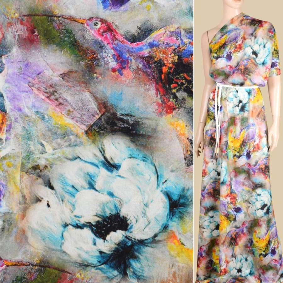 Віскоза різнобарвна, акварельні квіти і птахи ш.146