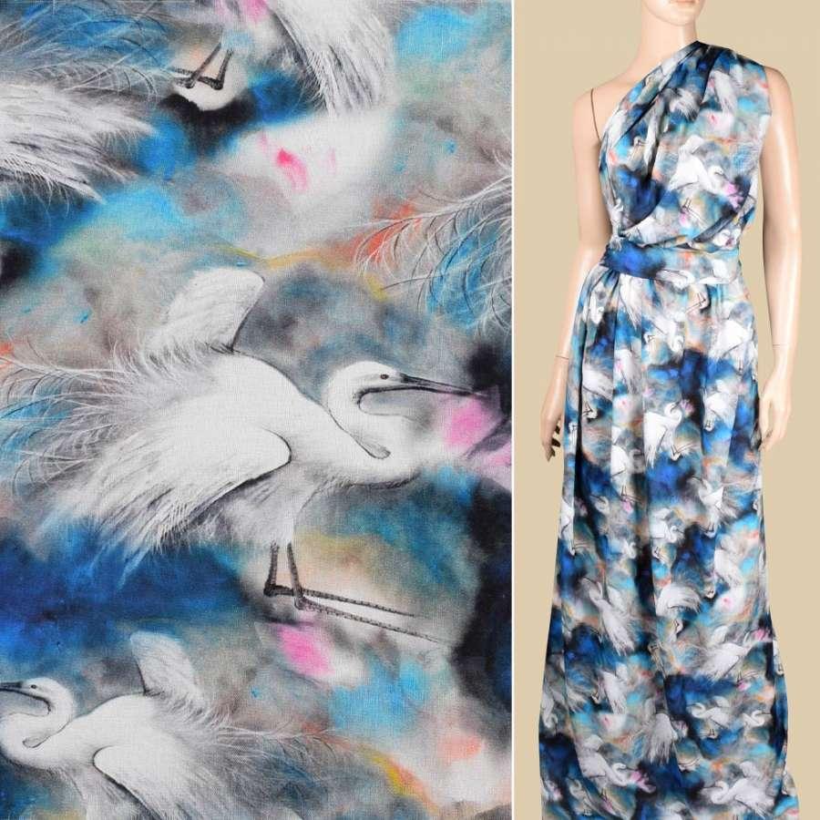 Віскоза синя, білі чаплі ш.145