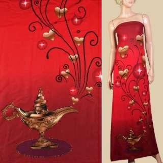 Вискоза красно-вишневая, золотые точки, сердца, волшебная лампа, 1ст.купон, ш.143