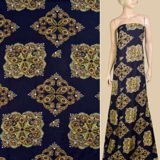 Вискоза синяя темная, коричнево-желтый орнамент, ш.145