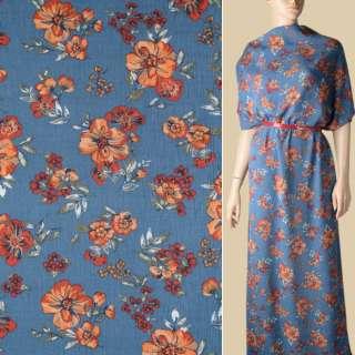 Вискоза жатая сине-серая, оранжевые цветы, ш.140