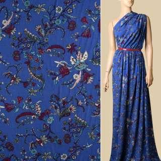 Вискоза синяя, бордовые, голубые цветы, ш.135