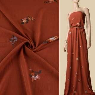 Вискоза жатая терракотовая, оранжевые цветы, ш.137