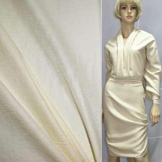 Віскоза з органзой костюмна молочна з діагональним плетінням, ш.150
